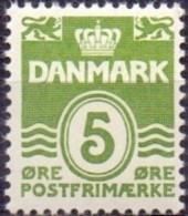 DENEMARKEN 1933-72 5öre Golflijn Zonder Harten GroenT III PF-MNH - Nuevos