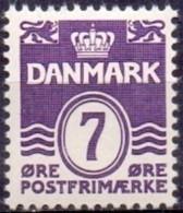 DENEMARKEN 1933-72 7öre Golflijn Zonder Harten Violet PF-MNH - Nuevos
