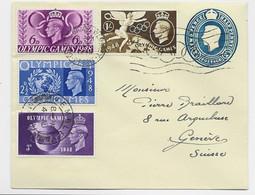 ENGLAND OLYMPIC GAMES 1/+3D+2 1/2D+6D SUR ENTIER COVER HALF PENNY MECANIQUE WEMBLEY 1948 TO SUISSE - Postmark Collection