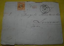 1882  COMMERCIAL  LETTER  GO FROM  NICE TO LIVORNO  / LETTERA  COMMERCIALE VIAGGIATA DA  NIZZA  X LIVORNO - 1870 Siège De Paris