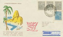 "BRASILIEN 1954 Erstflug JAL (Japan Air Lines) ""RIO DE JANEIRO – TOKIO"", ABART - Aéreo"