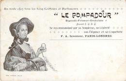 Rare Carte Publicitaire Du Bigoudi Friseur Le Pompadour En Vente Chez Les Bons Coiffeurs Et Parfumeurs - Publicidad