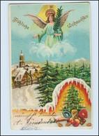 N1710/ Weihnachten Engel Tannenbaum Litho Präge Ak Ca.195 - Unclassified