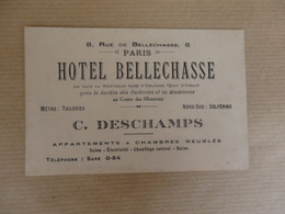 Carte De Visite Hôtel Bellechasse C. Deschamps 8, Rue De Bellechasse Paris. - Cartes De Visite