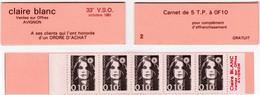 A - Carnet Publicitaire Claire Blanc Ventes Sur Offre Avignon 1991 Comprenant 5 Timbres Marianne De Briat 10 C. YT 2617 - Autres