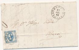 1863 LITOGRAFICO I TIPO LETTERA COMPLETA DI TESTO DA CASTELTERMINI CERCHIO SARDO ITALIANO A GIRGENTI - Storia Postale