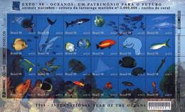 BREZIL, 1998, EXPO'98, LISBON, INTERNATIONAL YEAR OF OCEANS, MARINE LIFE, YV#2400-23, MNH - Nuevos