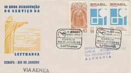 BRAZIL 1966 10th Anniversary Of Air Traffic With Rio De Janeiro SPECIAL FLIGHT - Aéreo