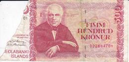BILLETE DE ISLANDIA DE 500 KRONUR DEL AÑO 2001   (BANKNOTE) ROTURA - Iceland