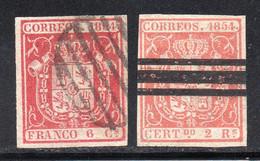 Spain - 1854 - 6c,2r - Yv. 24,25 - Used - Usados