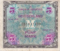 BILLETE DE ALEMANIA DE 5 MARK DEL AÑO 1944  (BANKNOTE) ALIADOS - 5 Mark