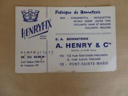 Carte De Visite Henryfix Fabrique De Bonneterie A. Henry Chalons. - Cartes De Visite