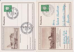 Bund Heuss Medaillon 2 X Ganzsache P 42 Bildpostkarte Stuttgart & Hannover Flughafen 1961 - Postales Ilustrados - Usados