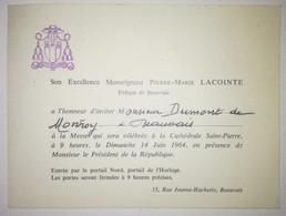 Invitation 1964 - Évêque De Beauvais - Monseigneur Pierre Marie Lacointe - Historical Documents