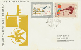 "BULGARIEN 1966 Erstflug TABSO Erster Direktflug M. Iljuschin 18 ""SOFIA - ZÜRICH"" - Posta Aerea"