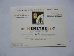 VIEUX PAPIERS - CARTE DE VISITE : ETS MENETREL & CIE - Pains D'épices - Apiculture - RUEIL - Cartes De Visite