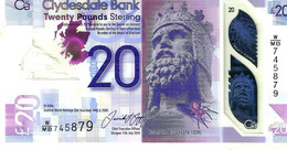 UNITED KINGDOM SCOTLAND CLYDEBANK 20 POUNDS MAN FRONT WOMAN ESBACK DATED 11-07-2019 UNC PNew POLYMER READ DESCRIPTION !! - 5 Pounds