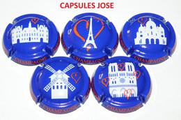Série De 5 Capsules De Champagne GENERIQUE - (Paris Mon Amour) - Collections