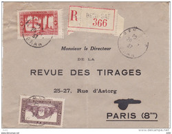 ALGERIE RECOMMANDE DE BENI SAF  POUR PARIS - Briefe U. Dokumente