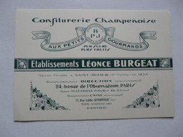 VIEUX PAPIERS - CARTE DE VISITE : CONFISERIE CHAMPENOISE - ETS LEONCE BURGEAT - Paris - Cartes De Visite