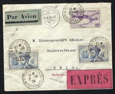 FRANCE Poste Aérienne 1932: LSC Meeting D' Auxerre Pour Bâle Avec Vignette - 1927-1959 Lettres & Documents