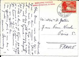 SUISSE - GENEVE - Cachet Genève Office Temporaire Bureau International Du Travail - 14-11- 1955 - SUR CPA Genève - Postmark Collection