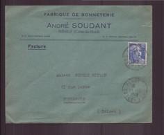 """France, Enveloppe à En-tête """" Soudant """" Fabrique De Bonneterie, Du 13 Décembre 1949 De Pléneuf Pour Montargis - Briefe U. Dokumente"""