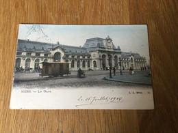 CP Ancienne De Mons : La Gare Avec Wagon Et Attelages (1904) - Mons