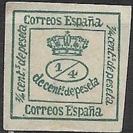 SPAIN 1872 Numeral - 1/4 C - Green MNG - Nuevos