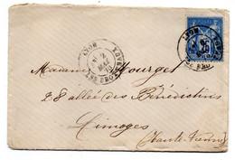 1878 -lettre De LYON LES BROTTEAUX-69 Pour LIMOGES-87--type Sage 25c Bleu..cachets...... - 1877-1920: Semi Modern Period