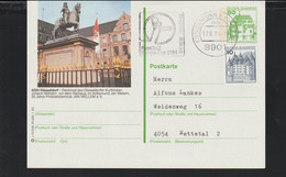 Germany Upfranked Postal Stationary Bauwerke W/print Düsseldorf Posted Königsbrunn 1984 (G125-22) - Postales - Usados