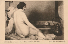 CARTE POSTALE ORIGINALE ANCIENNE TABLEAU DE FAR- SI : LA FEMME AU TUB  NUE PIN UP SEXY EROTIC  SALON ALENCON 1929 . - Malerei & Gemälde