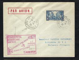 FRANCE Poste Aérienne 1939: LSC  Du Bourget Pour Varsovie - 1927-1959 Lettres & Documents
