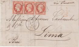 """FRANCE : N° 16 . BANDE DE TROIS . POUR """" LIMA """" ( PEROU) . VIA PANAMA . TTB . 1861 . - 1849-1876: Période Classique"""