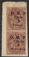 Cilicie N°89b Et 89d Variété Syrie Au Lieu De Cilicie Et 5 Piastres Au Lieu De 5 Paras Se Tenant  Cote +300€. - Oblitérés