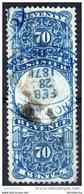 USA - Revenue - 1871 - Scott R117  (°) Backdated Cancellation ! (damaged, Thin Spot) - Fiscaux