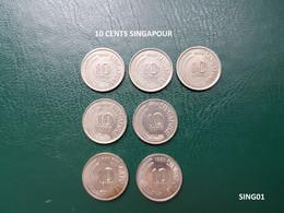 (SING01) Pièces SINGAPOUR SINGAPORE 10 CENTS 1967-68-69 1971-78 1980-81 - Singapore