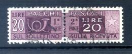 1946-51 REP. IT. 20lire PACCHI POSTALI N.74 USATO - Postal Parcels