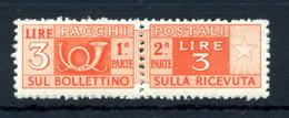 1946-51 REP. IT. 3lire PACCHI POSTALI N.70 MNH ** - Postal Parcels