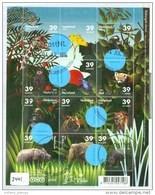 NEDERLAND * 2441 BLOK BLOC * BLOCK * NETHERLANDS * ANIMEAUX BEDREIGDE DIEREN, Animals Lion, Tigre, Frog * GEBRUIKT - Used Stamps