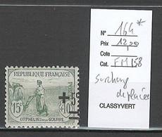 France - Yvert 164* - Orphelins - Surcharge Déplacée - Variétés: 1900-20 Neufs