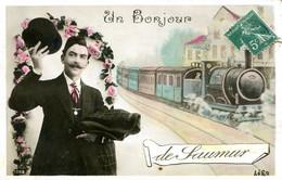 CPA -  SAUMUR - UN BONJOUR (CARTE FANTAISIE) - Saumur