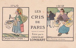Publicité : Chocolat LOMBART : Les Cris De Paris : Carpelettes Carpe - Du Hareng Du Beau : Illustrateur  - GRIGNON - Andere Illustrators