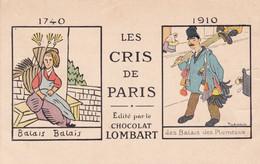 Publicité : Chocolat LOMBART : Les Cris De Paris : Balai Balai - Des Balais Des Plumeaux : Illustrateur  - GRIGNON - Andere Illustrators