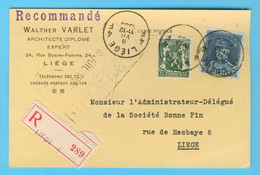 Belgique N° 320 - 425 Recommandé Liège 8 VIII 1936 - Sin Clasificación