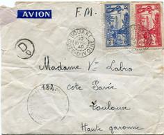 COTE D'IVOIRE LETTRE PAR AVION CENSUREE DEPART BOUAKE 10 AVRIL 40 COTE D'IVOIRE POUR LA FRANCE - Briefe U. Dokumente