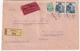 AUTRICHE 1938 LETTRE RECOMMANDEE EN EXPRES DELEOBEN AVEC CACHET ARRIVEE RUDOLSTADT - Cartas