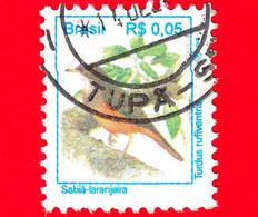 BRASILE - Usato - 1994 - Uccelli Brasiliani - Tordo - Turdus Rufiventris - Birds - Sabiá-Laranjeira - 0.05 - Usados