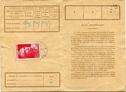 FRANCE CARTE D'ABONNEMENT AUX EMISSIONS DE TIMBRES-POSTE SPECIAUX FRANCAIS AVEC OBLITERATION TOULOUSE 27-9-45........... - Briefe U. Dokumente
