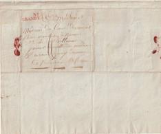 """FRANCE : MP . """" N° 20 GRANDE ARMEE """" . DU 16/01/1808 . EN ROUGE . POUR RENNES . - Army Postmarks (before 1900)"""
